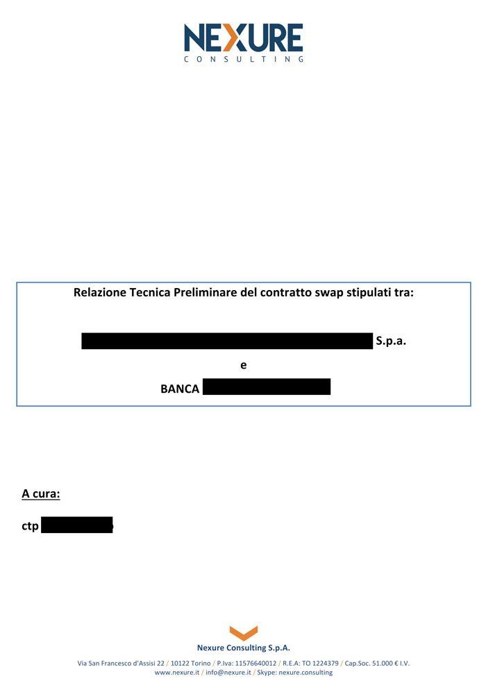 Esempio di relazione preliminare di un contratto swap pagina 1